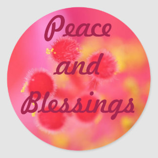 Peace and Blessings stickers Round Sticker