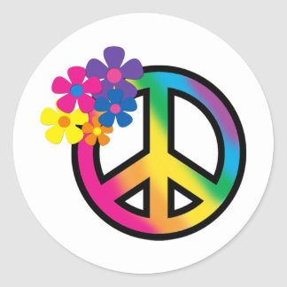 Peace and Flowers Round Sticker