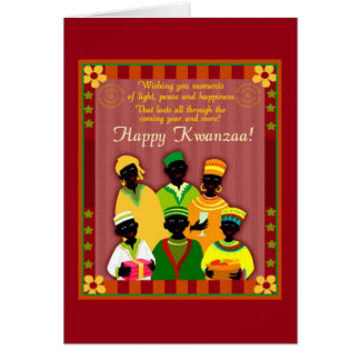 Peace And Happiness Kwanzaa Holiday Greeting Cards