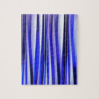 Peace and Harmony Blue Striped Abstract Pattern Jigsaw Puzzle