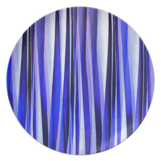 Peace and Harmony Blue Striped Abstract Pattern Plate