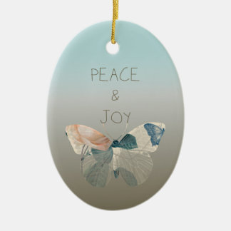 Peace and Joy Butterfly Ceramic Ornament