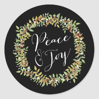Peace and Joy - Christmas Wreath Classic Round Sticker