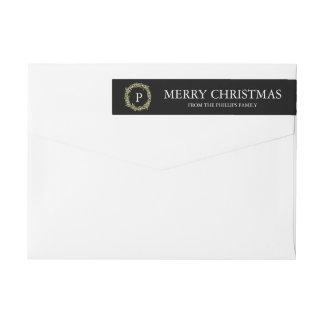 Peace and Joy - Christmas wreath Wraparound Return Address Label