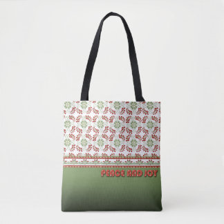 Peace and Joy Design Holiday Tote Bag