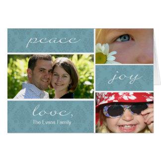 Peace and Joy Folded Holiday Card-blue