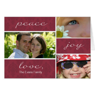 Peace and Joy Folded Holiday Card-burgundy Greeting Card