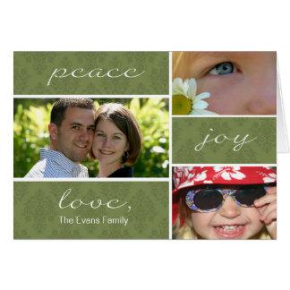 Peace and Joy Folded Holiday Card-olive