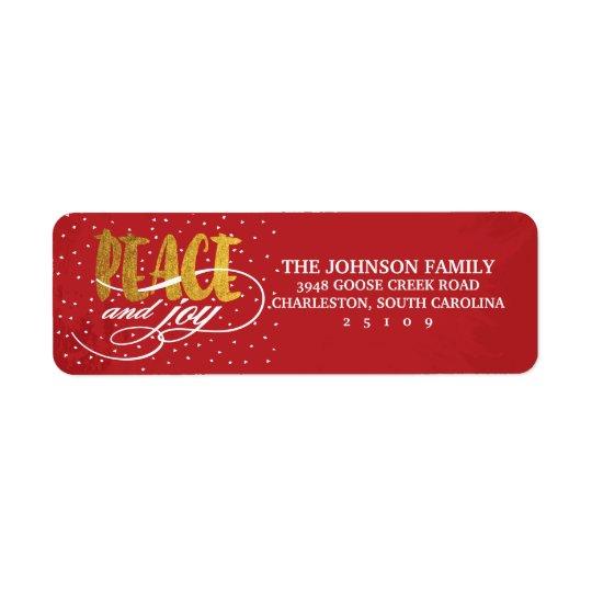 Peace and Joy Gold Sparkle Holiday Return Address Label