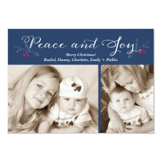 Peace and Joy Holly Navy Christmas Holiday Card 13 Cm X 18 Cm Invitation Card