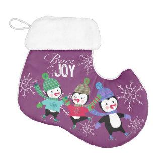 Peace and Joy Penguins Holiday Stocking Elf Christmas Stocking