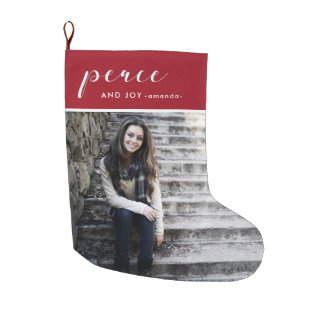 Peace and Joy Red Add Photo and Name Christmas Large Christmas Stocking