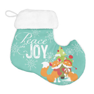 Peace and Joy Red Foxes Christmas Stocking Elf Christmas Stocking