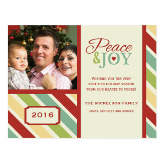 PEACE and JOY Striped Holiday Postcard