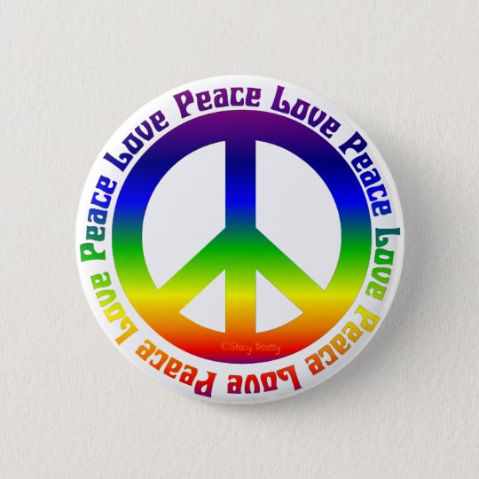 Peace and Love all around 6 Cm Round Badge
