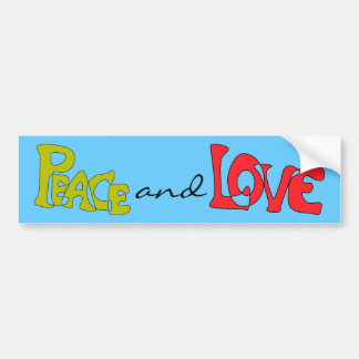 Peace and Love Bumper Sticker