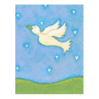 Peace and Love - Dove bird hearts fun pretty art Postcard