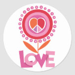 Peace and LOVE flower Round Sticker