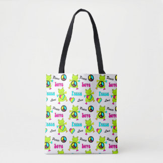Peace and Love Frogs Tote Bag