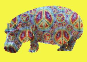 debc76ae461a Peace and Love Hippie Hippopotamus Birthday Card