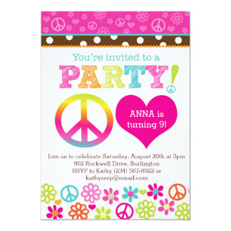 Peace and Love Hippie Party Invitation