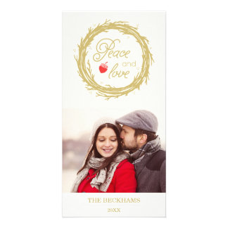 Peace and Love Holiday Photo Card / Gold Ivory