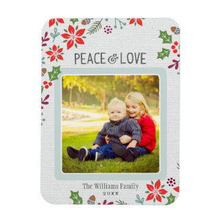 Peace and Love   Holiday Photo Magnet