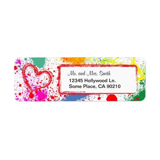 Peace and Love Paint Splatter (customisable) Return Address Label