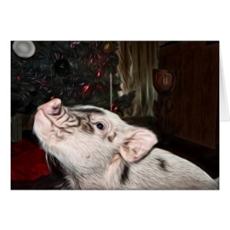 Peace and Love painted Mini Pig Christmas Card