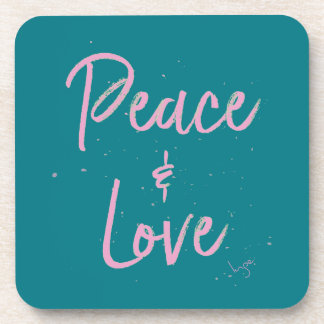 PEace-and-Love-Pink Coasters