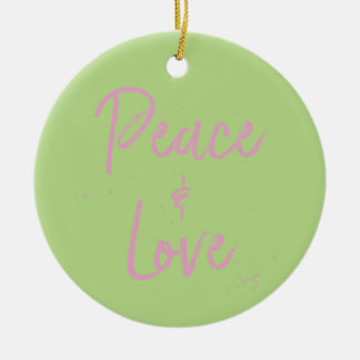 PEace-and-Love-Pink Round Ceramic Decoration
