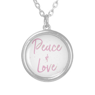 PEace-and-Love-Pink Silver Plated Necklace