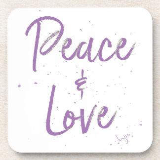 PEACE-and-Love-Purple Beverage Coasters