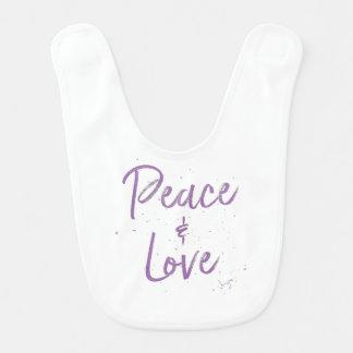 PEACE-and-Love-Purple Bib