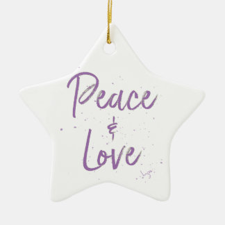 PEACE-and-Love-Purple Ceramic Ornament