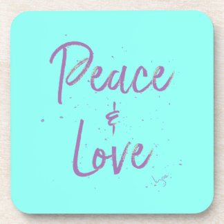 PEACE-and-Love-Purple Drink Coasters