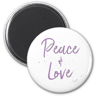 PEACE-and-Love-Purple Magnet