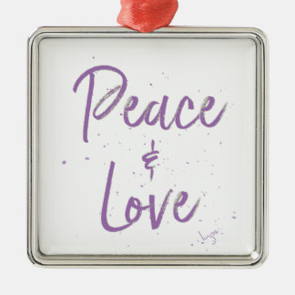 PEACE-and-Love-Purple Metal Ornament