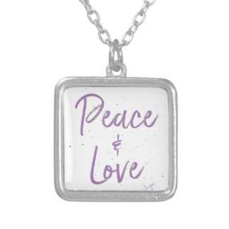 PEACE-and-Love-Purple Silver Plated Necklace