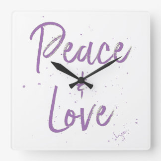 PEACE-and-Love-Purple Square Wall Clock
