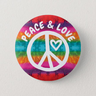 Peace and Love Tie Dye Stripes 6 Cm Round Badge