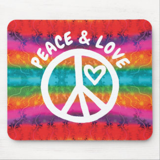 Peace and Love Tie Dye Stripes Mouse Pad
