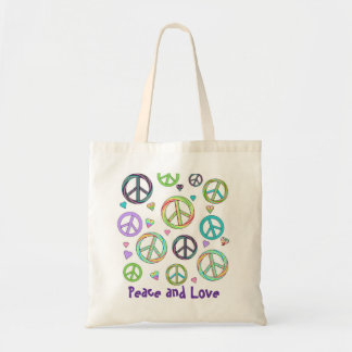 Peace and Love Tote Canvas Bag