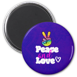 Peace and Love Typography Rainbow Hand Peace Sign Magnet