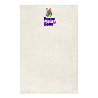 Peace and Love Typography Rainbow Hand Peace Sign Stationery