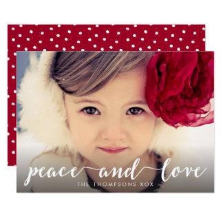 Peace and Love White Script Xmas Photo Overlay Card