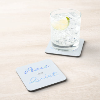 Peace and Quiet Words (Blue) Coaster