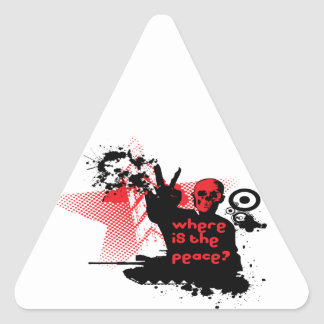 Peace and War Skeleton Triangle Sticker