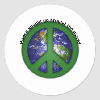 Peace around the world classic round sticker