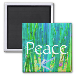 Peace Bamboo Blue and Green Square Magnet